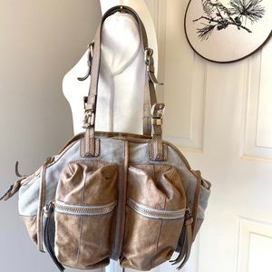 Anthropologie leather canvas workshop tote bag.